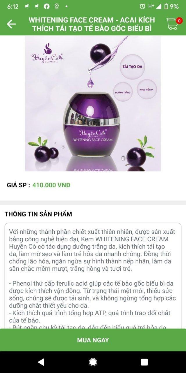 App bán hàng mỹ phẩm trên Android của Trái Dừa Xanh