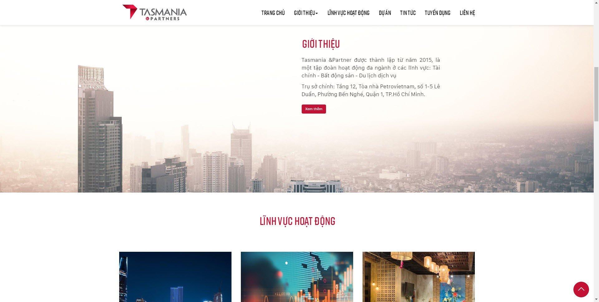 Giao diện website thương hiệu tasmaniapartners.vn - Hình 2